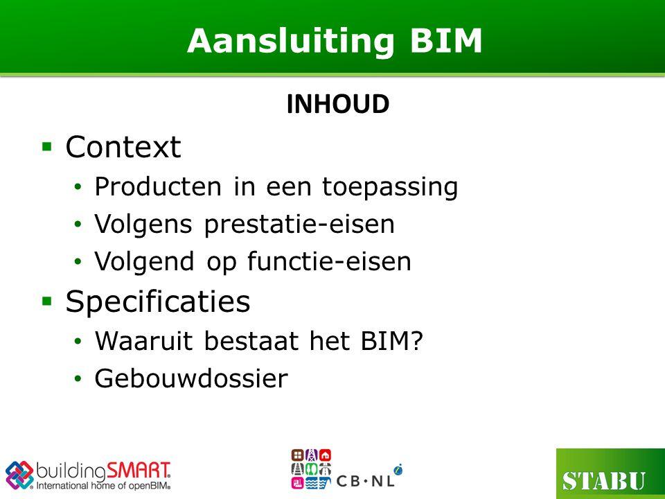 Aansluiting BIM INHOUD Context Specificaties