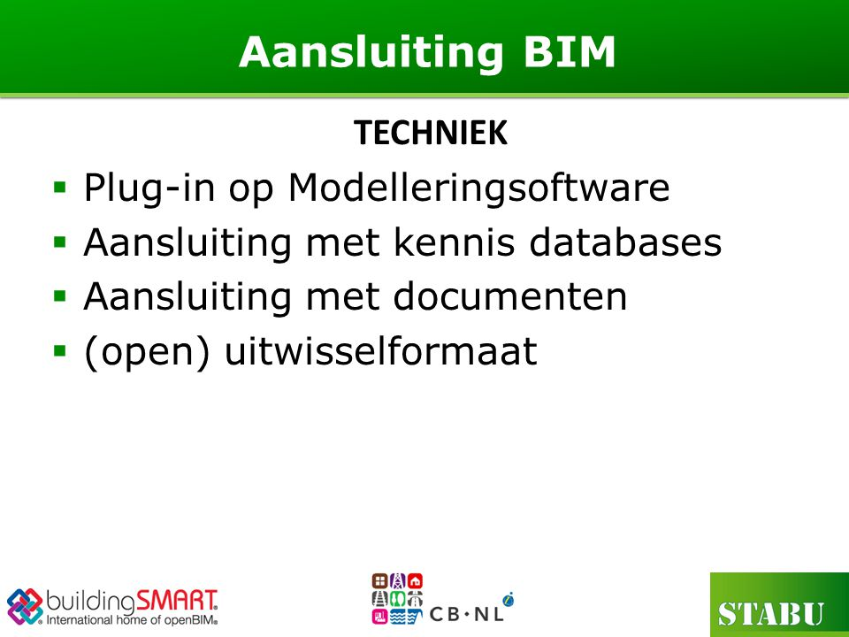 Aansluiting BIM TECHNIEK Plug-in op Modelleringsoftware