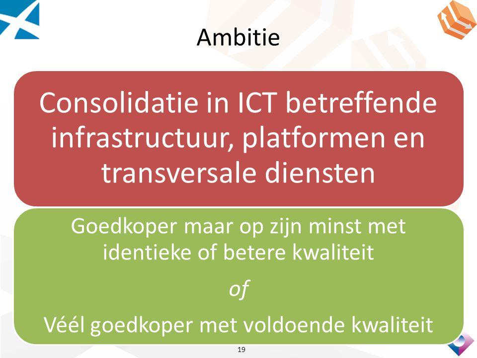 Ambitie Consolidatie in ICT betreffende infrastructuur, platformen en transversale diensten.