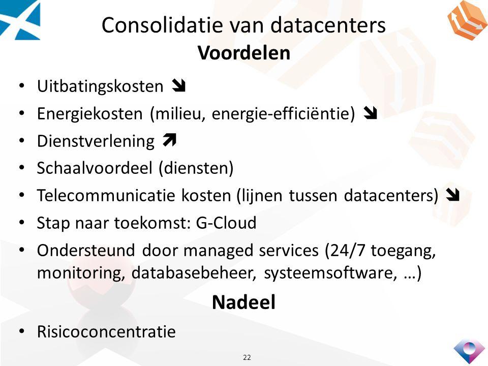 Consolidatie van datacenters Voordelen