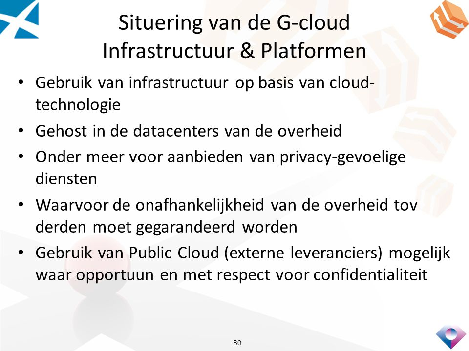Situering van de G-cloud Infrastructuur & Platformen