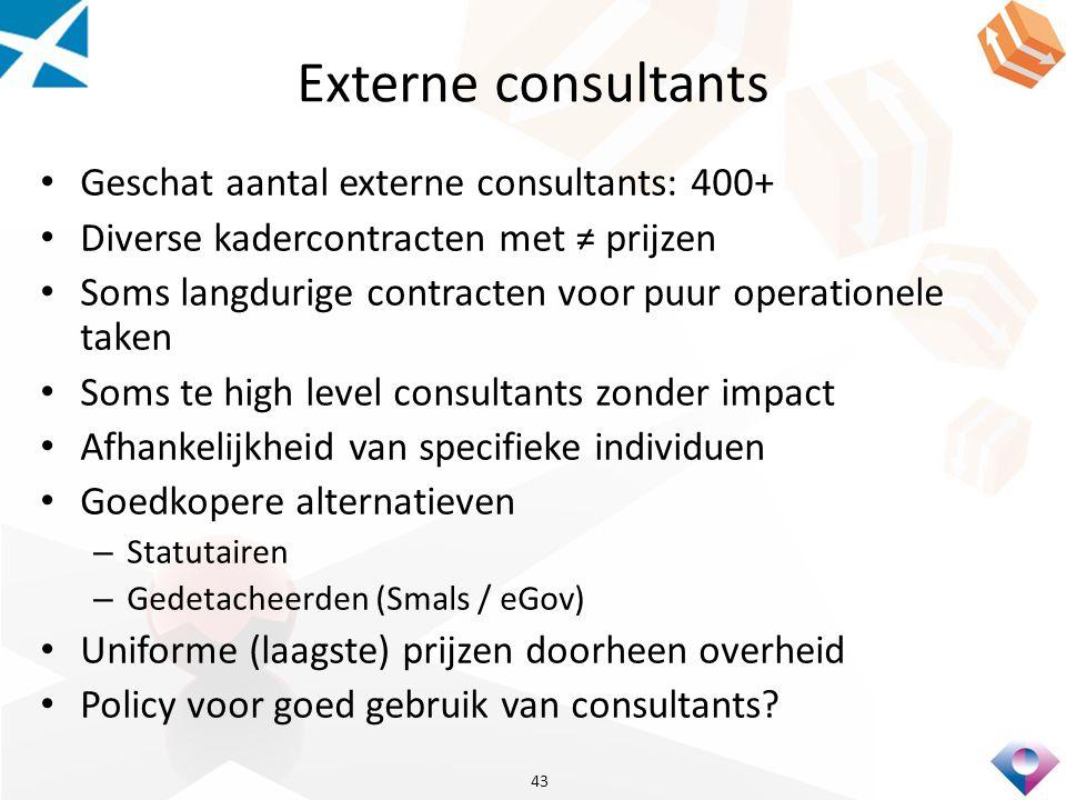 Externe consultants Geschat aantal externe consultants: 400+