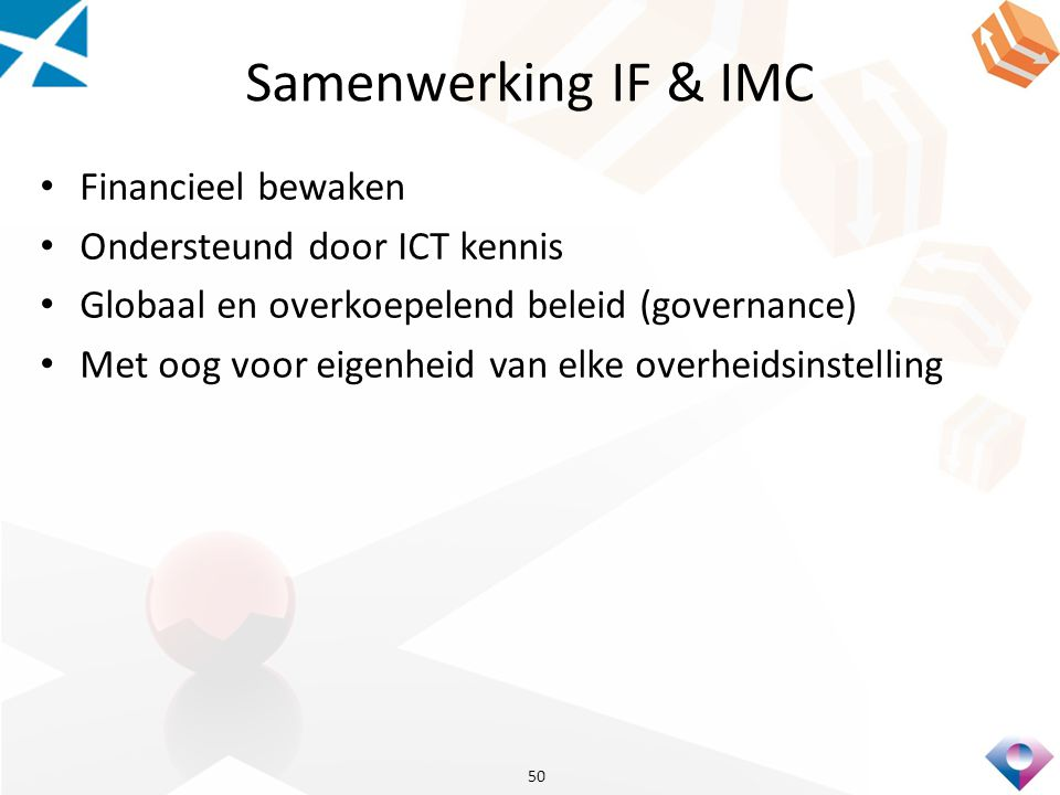 Samenwerking IF & IMC Financieel bewaken Ondersteund door ICT kennis