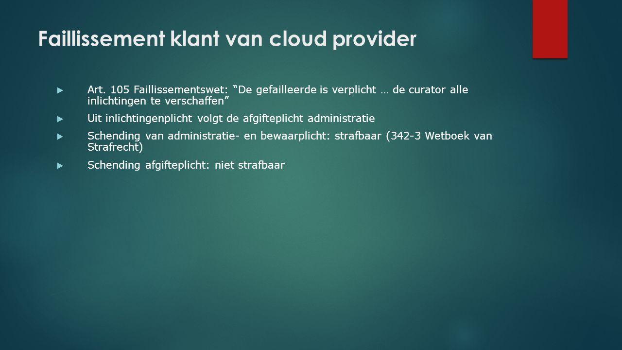 Faillissement klant van cloud provider