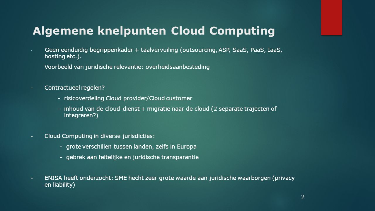 Algemene knelpunten Cloud Computing