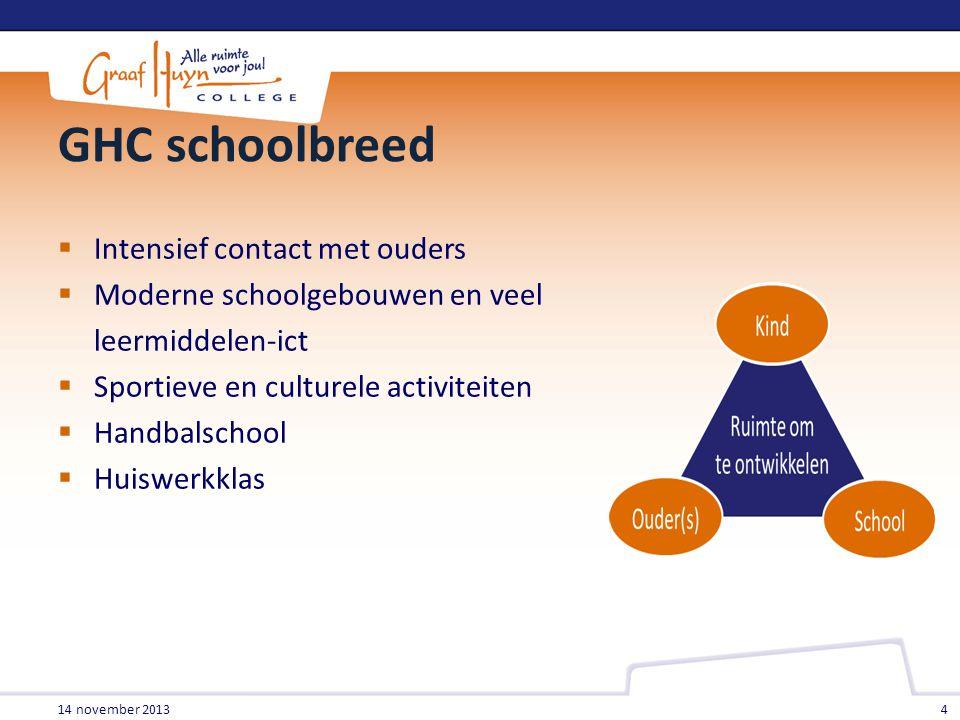 GHC schoolbreed Intensief contact met ouders