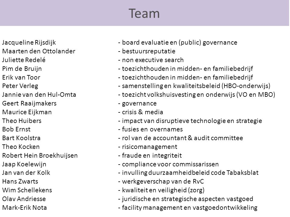Team Jacqueline Rijsdijk - board evaluatie en (public) governance