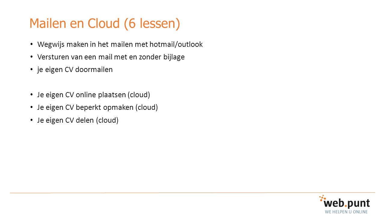 Mailen en Cloud (6 lessen)