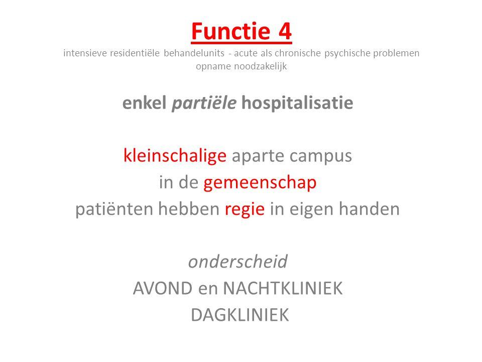 Functie 4 intensieve residentiële behandelunits - acute als chronische psychische problemen opname noodzakelijk