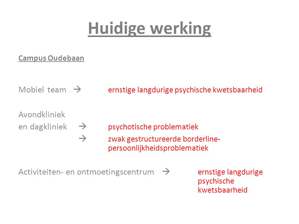Huidige werking Campus Oudebaan. Mobiel team   ernstige langdurige psychische kwetsbaarheid. Avondkliniek.
