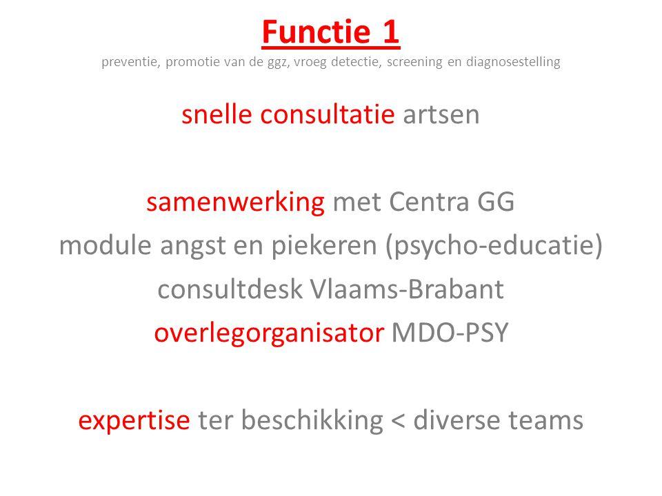 Functie 1 preventie, promotie van de ggz, vroeg detectie, screening en diagnosestelling