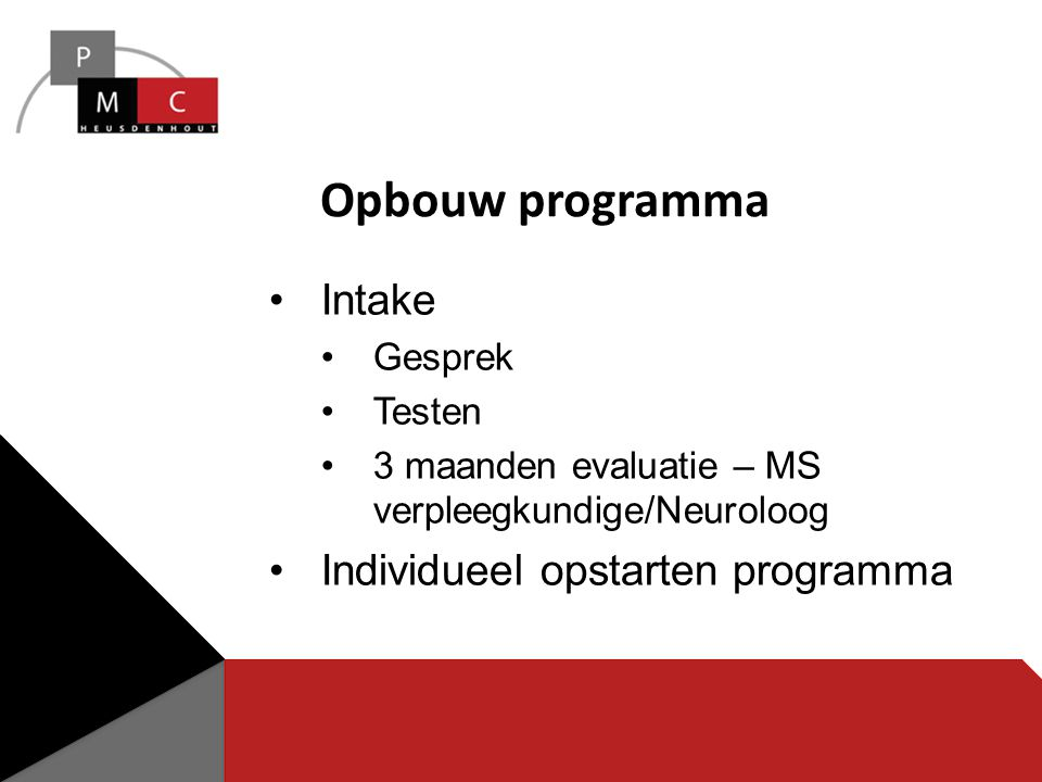 Opbouw programma Intake Individueel opstarten programma Gesprek Testen