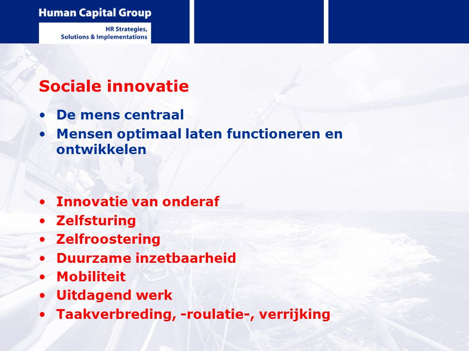 Sociale innovatie De mens centraal