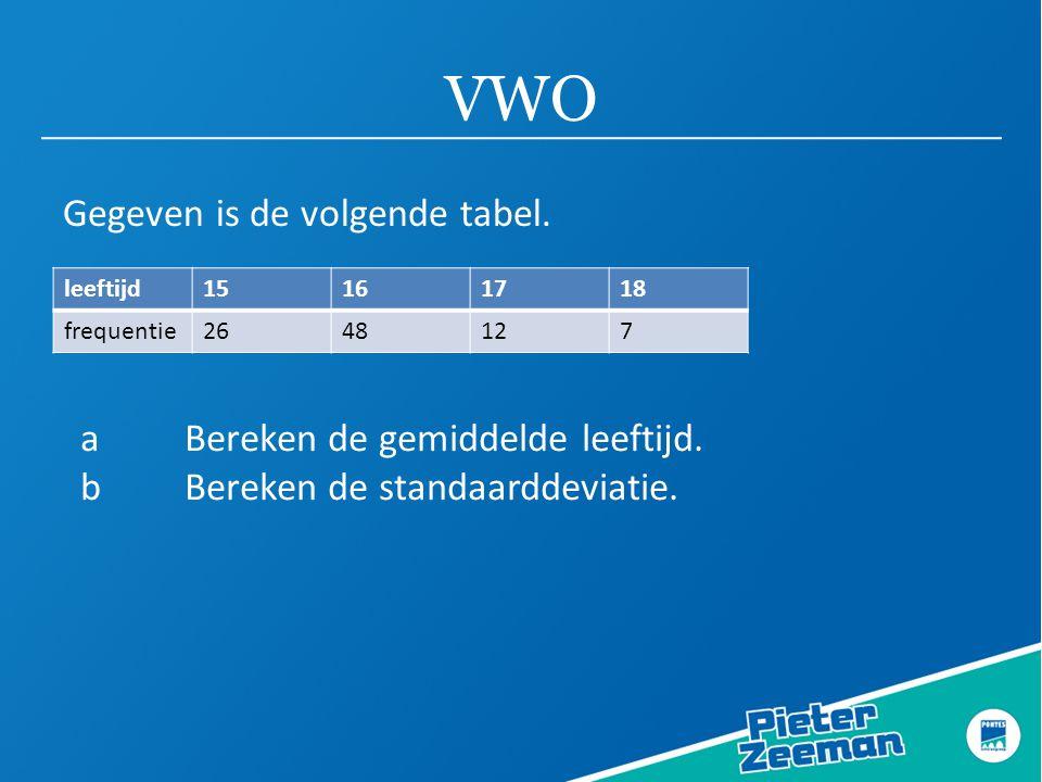 VWO Gegeven is de volgende tabel. a Bereken de gemiddelde leeftijd.