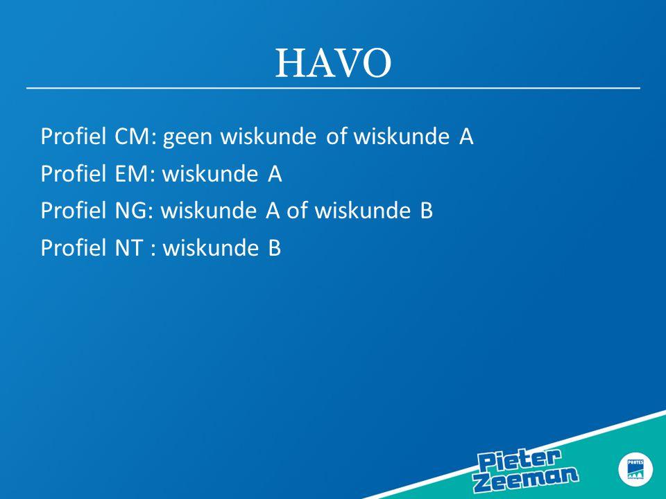 HAVO Profiel CM: geen wiskunde of wiskunde A Profiel EM: wiskunde A