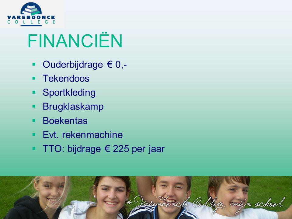 FINANCIËN Ouderbijdrage € 0,- Tekendoos Sportkleding Brugklaskamp