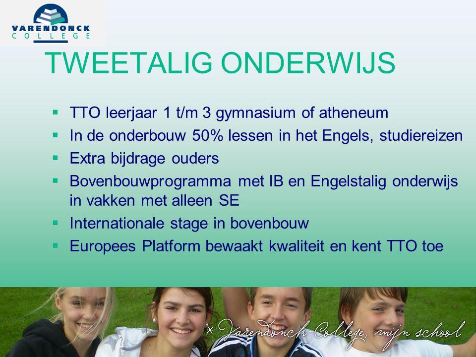 TWEETALIG ONDERWIJS TTO leerjaar 1 t/m 3 gymnasium of atheneum