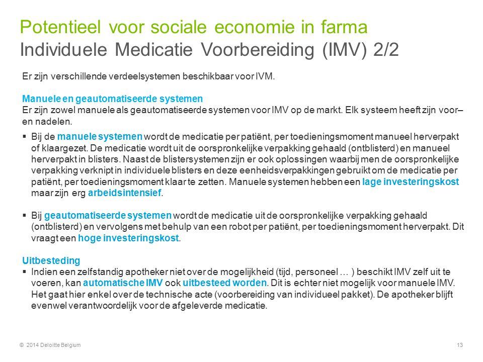 Potentieel voor sociale economie in farma Individuele Medicatie Voorbereiding (IMV) 2/2
