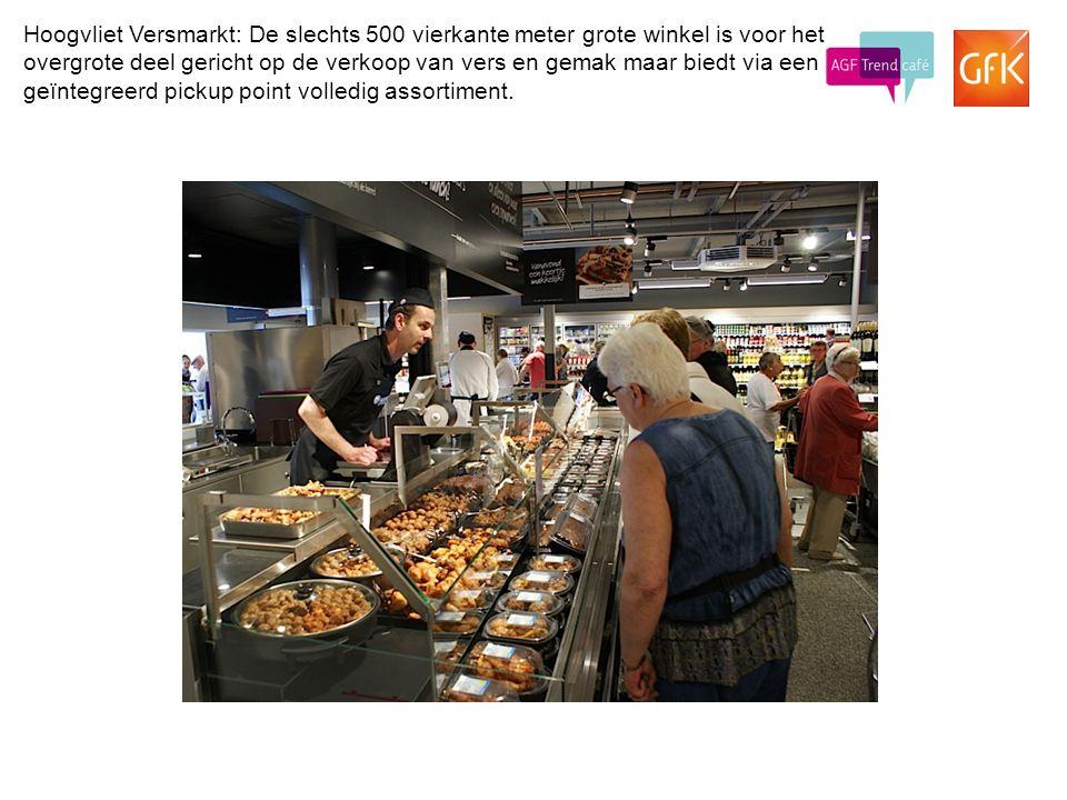 Hoogvliet Versmarkt: De slechts 500 vierkante meter grote winkel is voor het overgrote deel gericht op de verkoop van vers en gemak maar biedt via een geïntegreerd pickup point volledig assortiment.