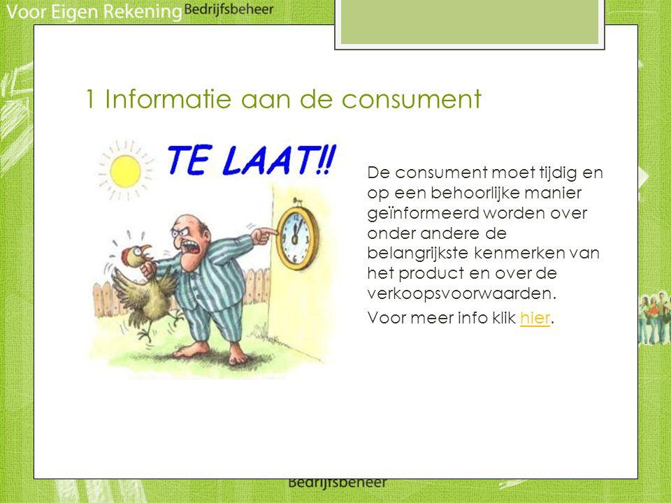 1 Informatie aan de consument