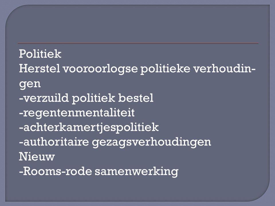 Politiek Herstel vooroorlogse politieke verhoudin- gen -verzuild politiek bestel -regentenmentaliteit -achterkamertjespolitiek -authoritaire gezagsverhoudingen Nieuw -Rooms-rode samenwerking