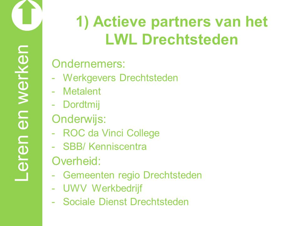 1) Actieve partners van het LWL Drechtsteden