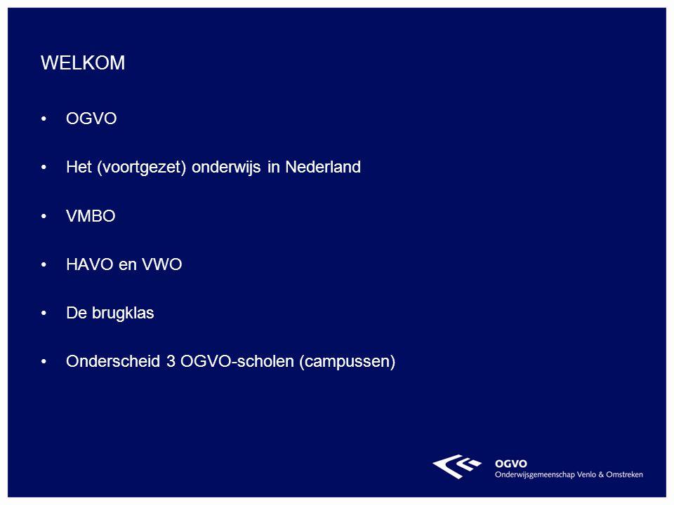 Welkom OGVO Het (voortgezet) onderwijs in Nederland Vmbo Havo en vwo