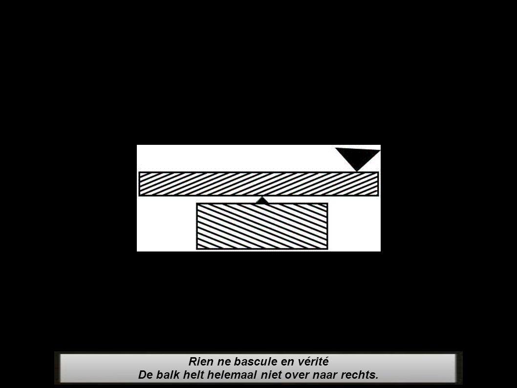 Rien ne bascule en vérité De balk helt helemaal niet over naar rechts.