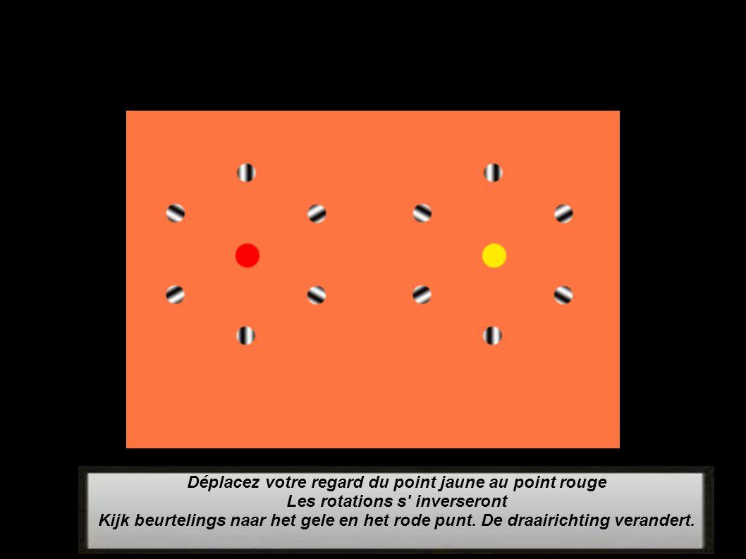 Déplacez votre regard du point jaune au point rouge