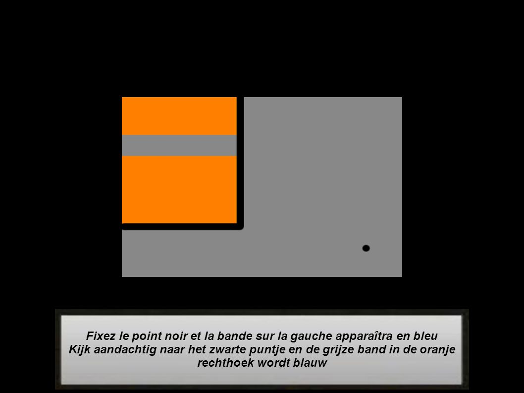 Fixez le point noir et la bande sur la gauche apparaîtra en bleu