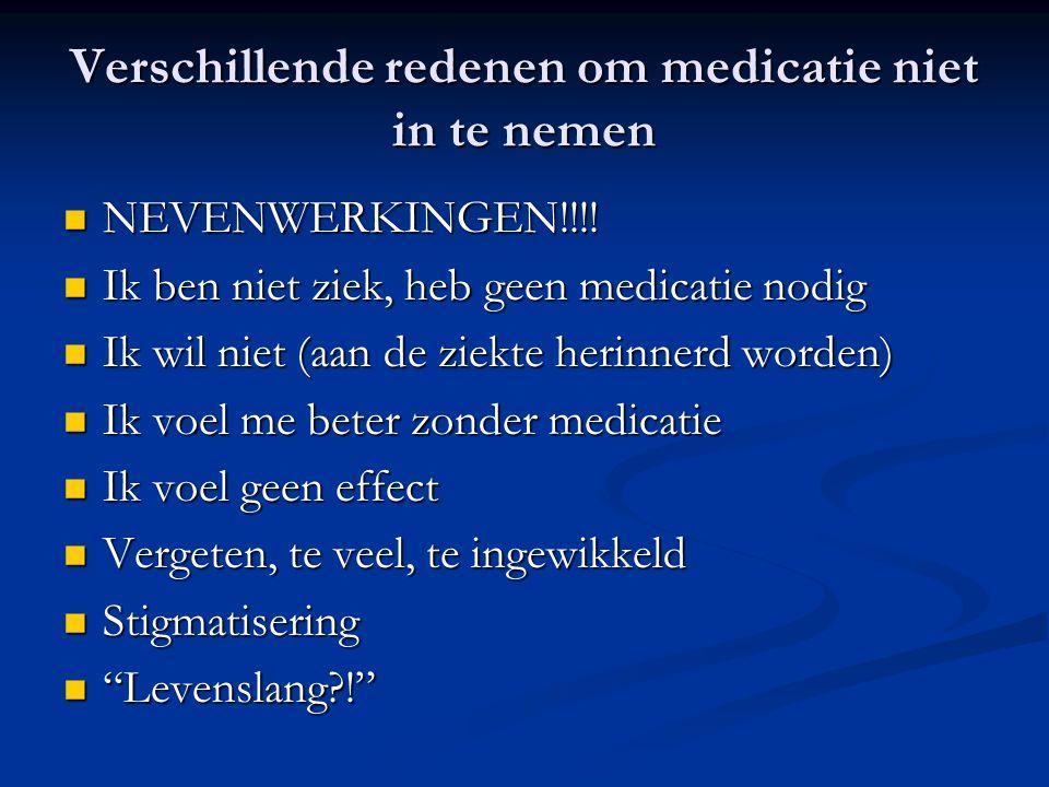Verschillende redenen om medicatie niet in te nemen