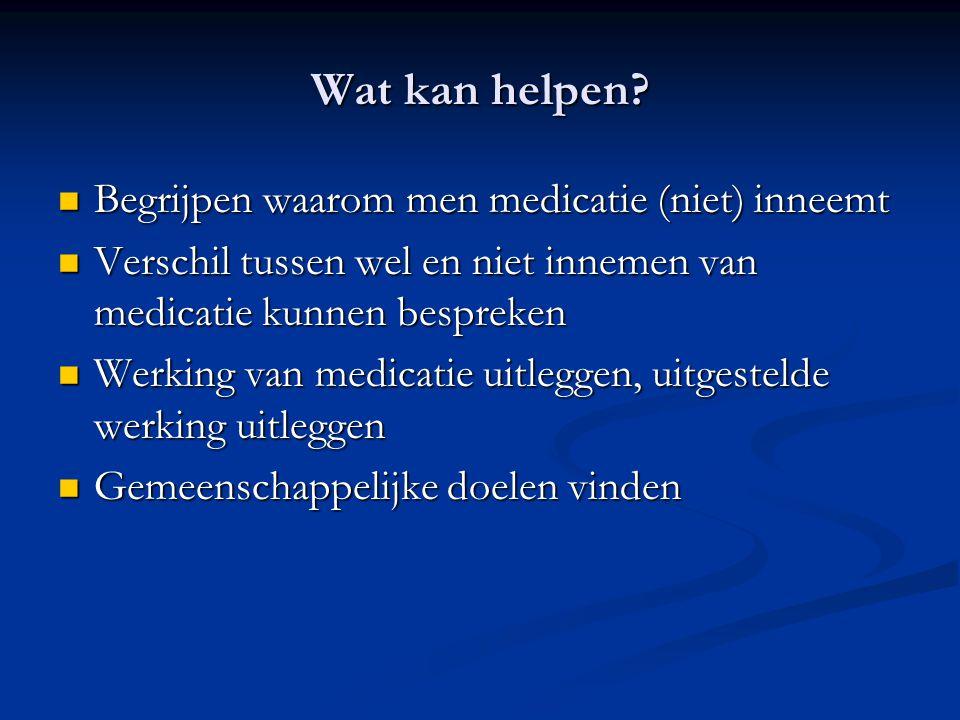 Wat kan helpen Begrijpen waarom men medicatie (niet) inneemt