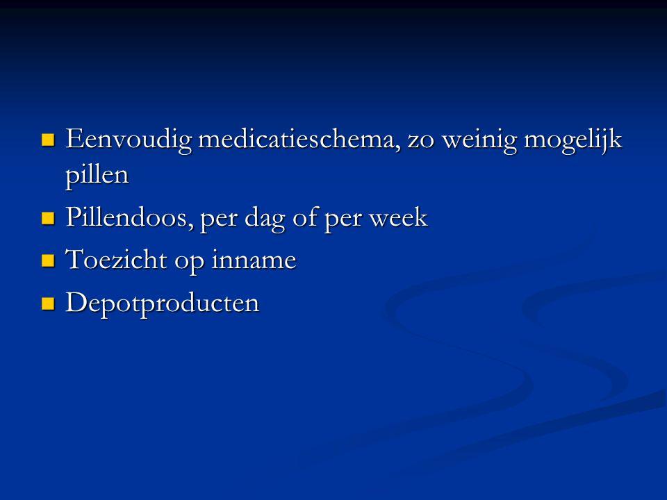 Eenvoudig medicatieschema, zo weinig mogelijk pillen