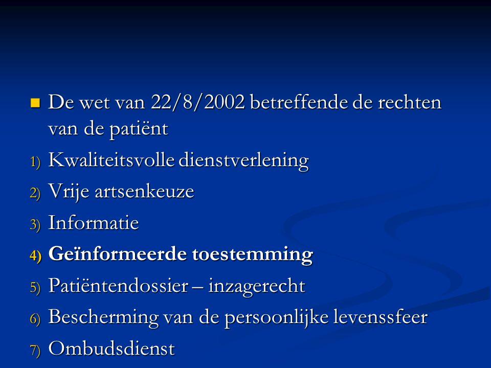 De wet van 22/8/2002 betreffende de rechten van de patiënt
