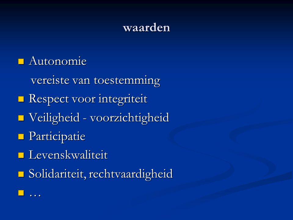 waarden Autonomie. vereiste van toestemming. Respect voor integriteit. Veiligheid - voorzichtigheid.
