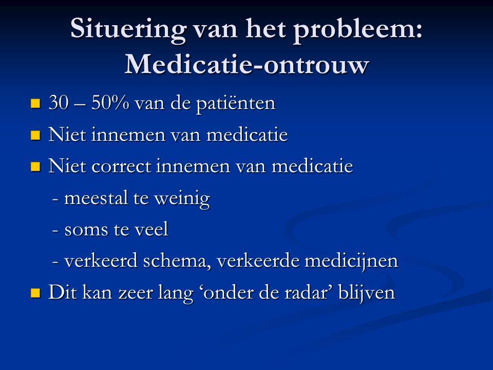 Situering van het probleem: Medicatie-ontrouw