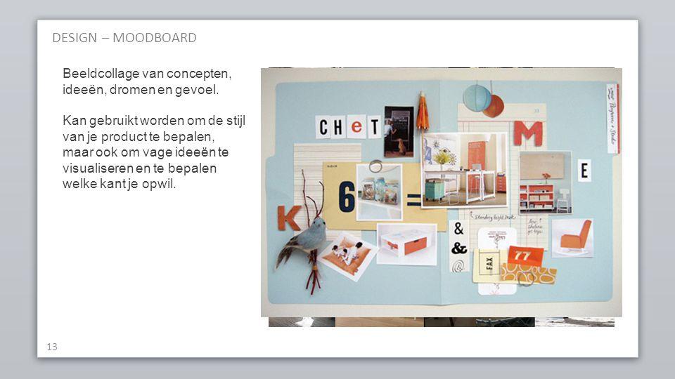 DESIGN – MOODBOARD Beeldcollage van concepten, ideeën, dromen en gevoel.