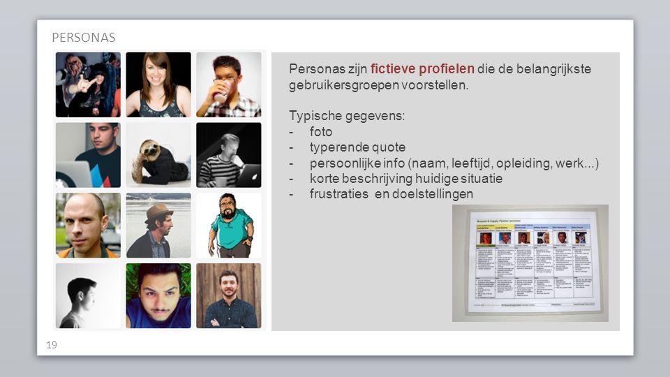 PERSONAS Personas zijn fictieve profielen die de belangrijkste gebruikersgroepen voorstellen. Typische gegevens: