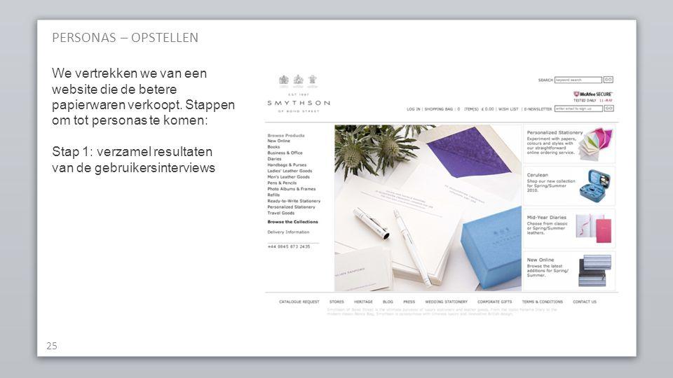 PERSONAS – OPSTELLEN We vertrekken we van een website die de betere papierwaren verkoopt. Stappen om tot personas te komen: