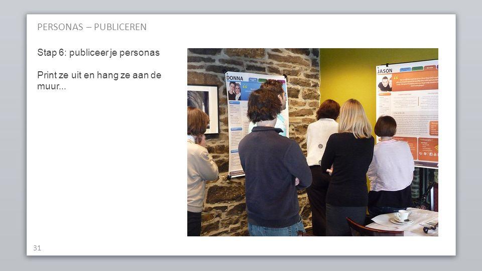 PERSONAS – PUBLICEREN Stap 6: publiceer je personas