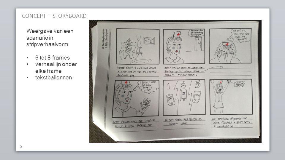 CONCEPT – STORYBOARD Weergave van een scenario in stripverhaalvorm