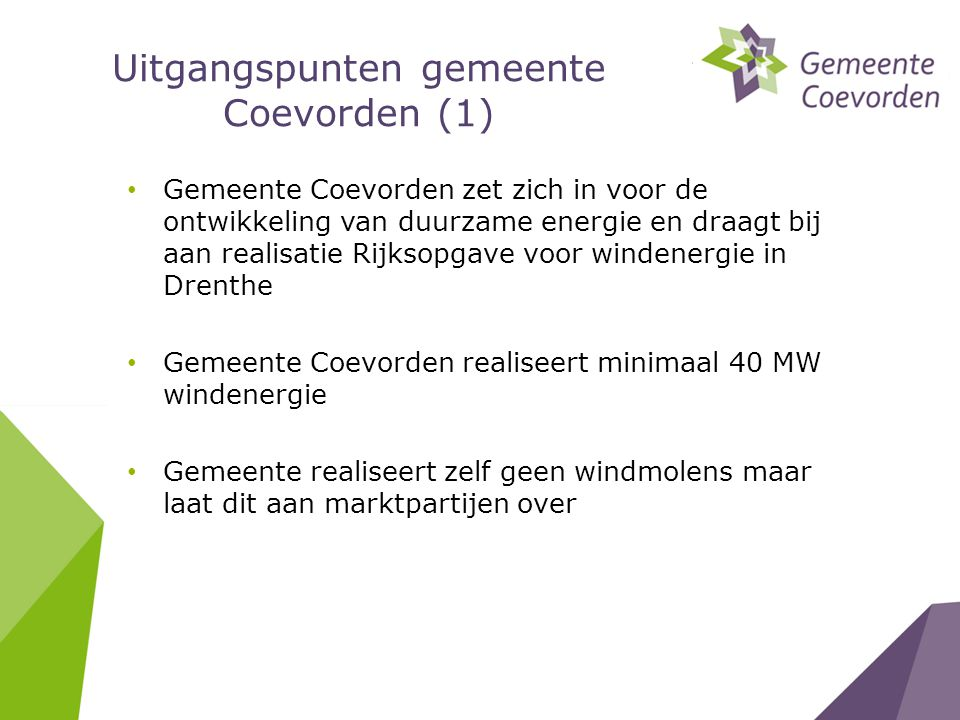 Uitgangspunten gemeente Coevorden (1)
