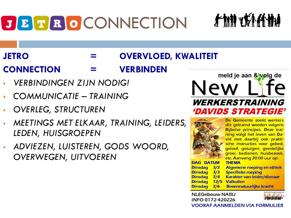 JETRO - CONNECTION JETRO = OVERVLOED, KWALITEIT CONNECTION = VERBINDEN