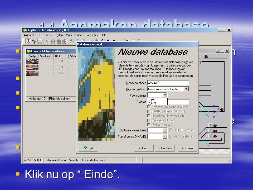 1.4 Aanmaken database. Na installatie van koploper is er alleen een demo database beschikbaar. Open Algemeen en Nieuwe Database .