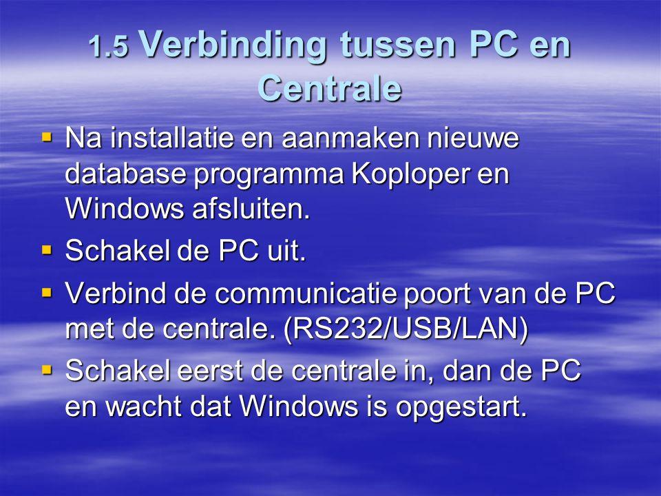 1.5 Verbinding tussen PC en Centrale