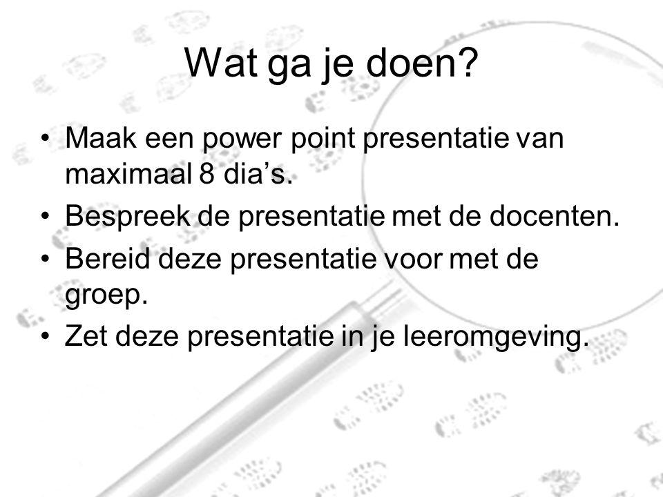 Wat ga je doen Maak een power point presentatie van maximaal 8 dia's.
