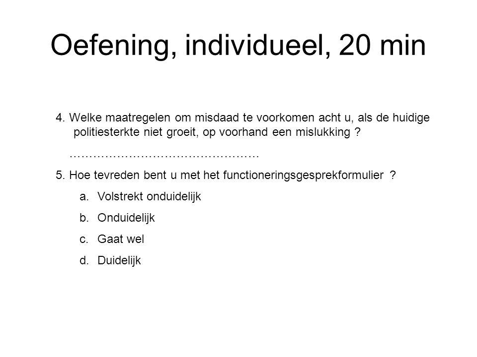 Oefening, individueel, 20 min