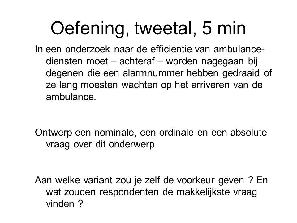 Oefening, tweetal, 5 min