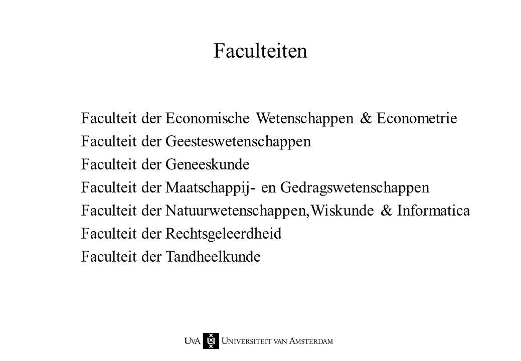 Faculteiten Faculteit der Economische Wetenschappen & Econometrie