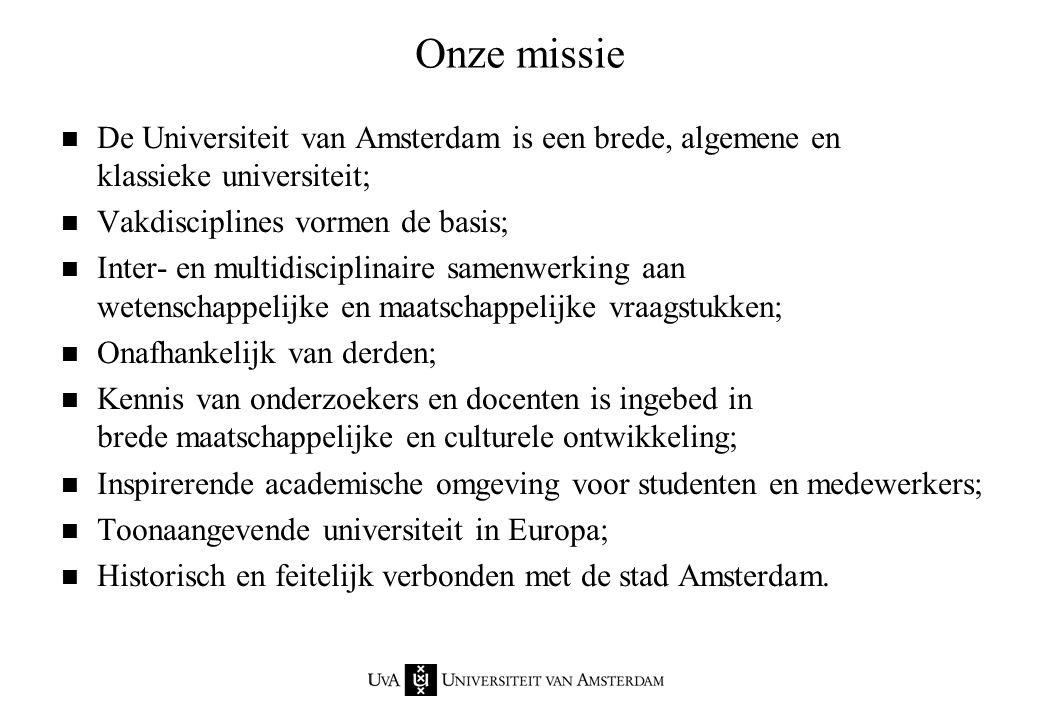 Aantekeningenvel dinsdag 16 februari 1999. Onze missie. De Universiteit van Amsterdam is een brede, algemene en klassieke universiteit;